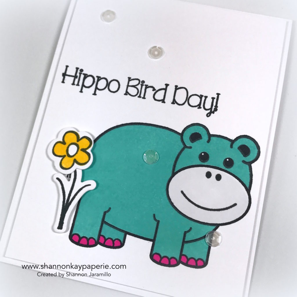 Hippo Bird Day Birthday Cards Ideas - Shannon Jaramillo shannonkaypaperie